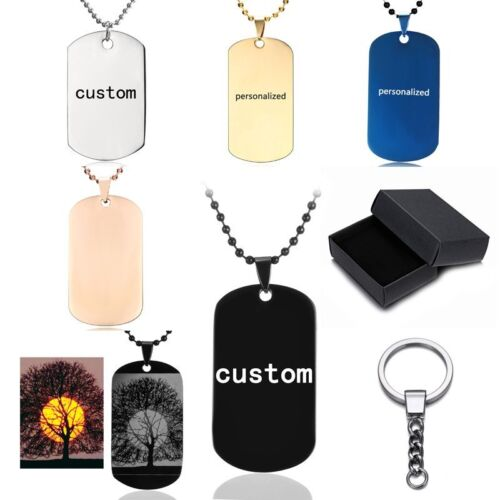 New Stainless Steel Personalized Custom Engraved Dog Tag Pho