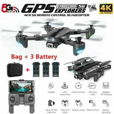 CSJ S167 GPS Drone 4K Camera WIFI FPV RC Quadcopter with 3 Battery+Handbag USA