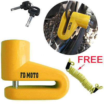 FD-MOTO Scooter Bike Motorcycle Motorbike Disc Lock + Free Reminder Cable