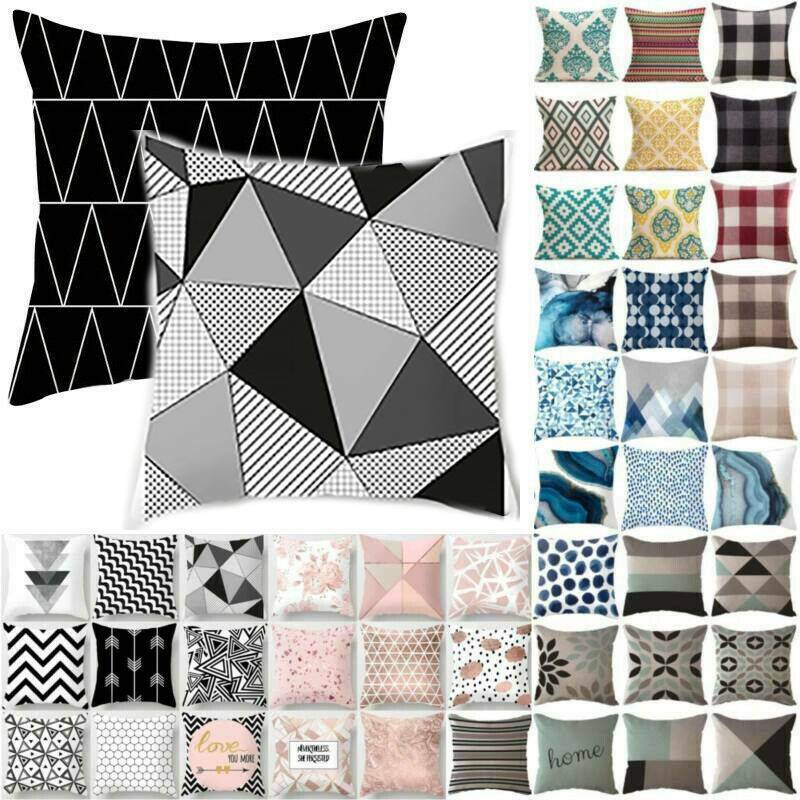 Geometric Black Grey Cushion Cover Throw Pillow Case Bench B