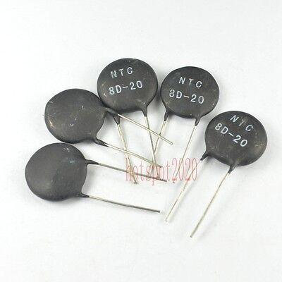 10pcs Ntc 8d-20 Power Ntc Thermistor Surge Current Limiting 8 Ohm 6a 6amp New