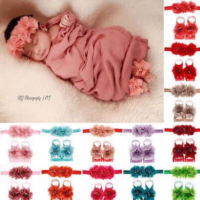 1set/3Pcs Baby Girls Infant Headband Foot Flower Elastic Hair Band Accessories