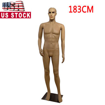 183cm Male Full Body Realistic Mannequin Shop Display Right Arm Straight Foot