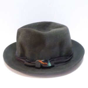 VINTAGE 1940/50s MEN'S DARK GREY FELT FEDORA HAT