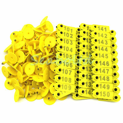 Yellow Plastic 101-200 Number Animal Livestock Ear Tag For Goat Sheep Pig