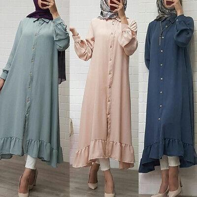 Women Elegant Muslim Dubai Dress Loose Abaya Islamic Kaftan Robes Maxi Dresses