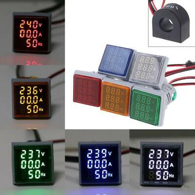 Digital 3in1 Ac Ammeter Voltmeter Hz Current Meter Signal Light Led Indicator
