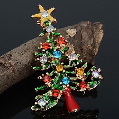 Brooch Enamel Gorgeous Rhinestone Crystal Christmas Tree Pin Party Gift FL