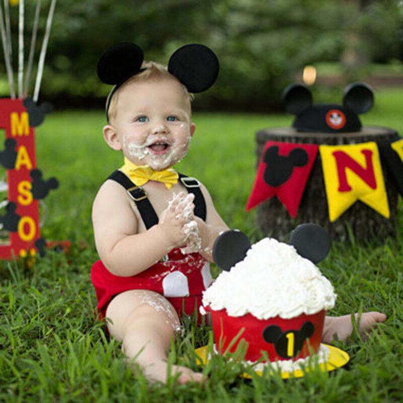 Enjoyable Baby Boys 1St Birthday Cake Smash Mickey Suspender Pants Costume Personalised Birthday Cards Vishlily Jamesorg