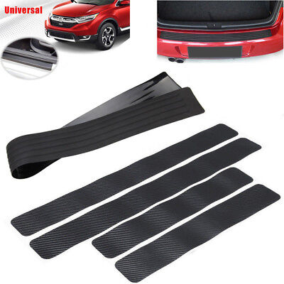 Car Rear Trunk Sill Plate Guard Rubber Bumper Protector Pad Cover+Stickers Tools