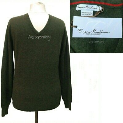 NEW Mens 100% Cashmere Jumper Enzo Mantovani V-Neck Medium Sweater Dark Green