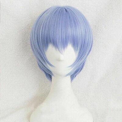 NEON GENESIS EVANGELION EVA Ayanami Rei Wigs Light Blue Cosplay Wig + Wig Cap](Neon Blue Wig)