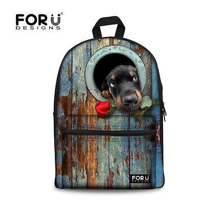 Frauen Mädchen Canvas Rucksack Cool Hund Schultasche Ranzen Mochilas Schultasche