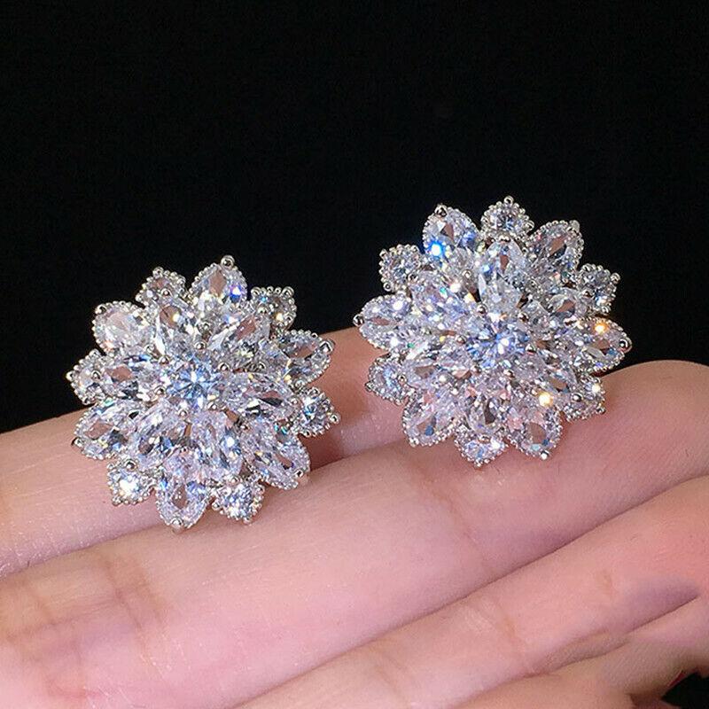 8 Colors Gorgeous 925 Silver Stud Earrings Women Cubic Zircon Wedding Jewelry