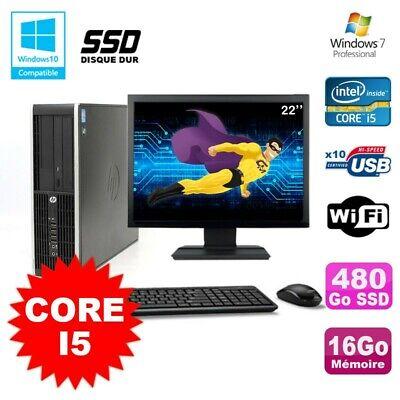 Lot PC HP Elite 8200 SFF Core I5 3.1GHz 16Go 480Go SSD DVD WIFI W7 + Ecran 22