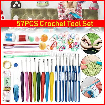 57Pcs Crochet Hooks Knitting Needles Knit Weave Craft Yarn Set Sewing Accessory