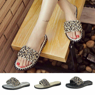 - Women Non-slip Rhinestone Beach Flat Sandals Female Summer Beaded Slippers