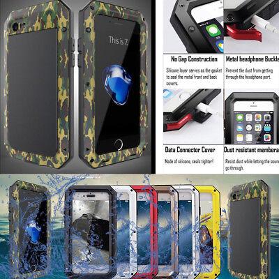 Aluminum Metal Shockproof Waterproof Gorilla Glass Case Cover for iPhone/Samsung