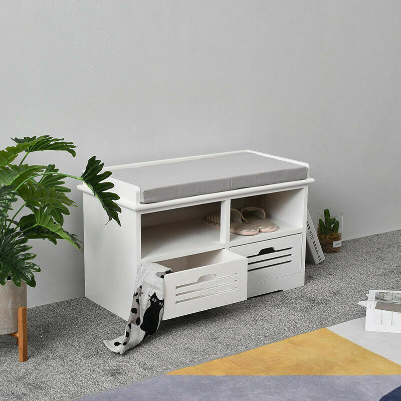 2 Drawer Crate Bench with Seat Pad Bedroom Hallway Seating ...