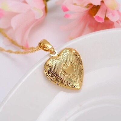 24K Gold Plated Heart Small Locket Picture Photo Pendant Necklace 18