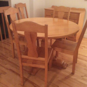 "48 "" Solid Birch Round Table Chairs and Buffet St. John's Newfoundland image 1"