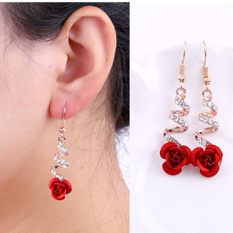 Fashion Womens Crystal Red Rose Flower Dangle Drop Earrings