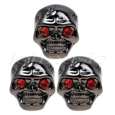 3 Pcs Electric Guitar Skull Volume Tone Control Knobs Guitar Parts Black