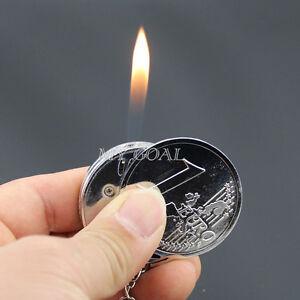 Coin Cigarette Cigar Lighter Windproof Flame Refillable Butane Gas Novelty Gift