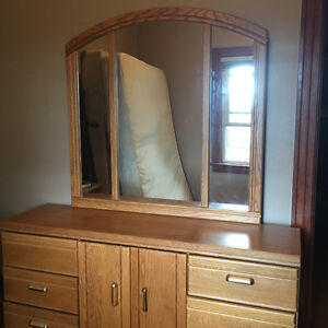 Queen size headboard, two bedside tables and dresser with mirror