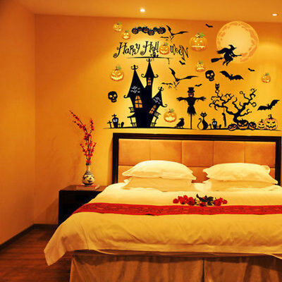 1pc Halloween Mural Wall Sticker Bar Kitchen Living Room Dining Room Background - Live Halloween Backgrounds