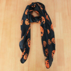 Black orange skull print Halloween fall scarf NEW