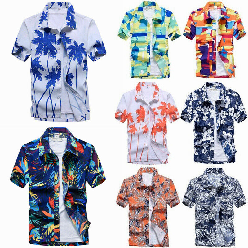 Men Hawaiian Floral Shirt Aloha Buttons Down Blouse Summer Beach Holiday Top Tee Clothing, Shoes & Accessories