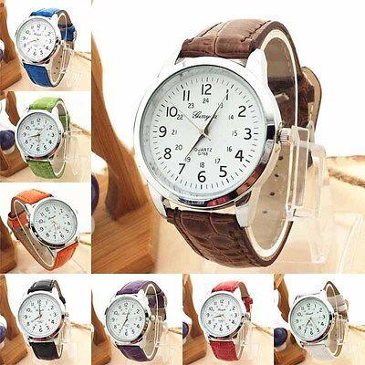Fashion Faux Leather Womens Watch stainless steel Analog Quartz Wrist Watch GIFT