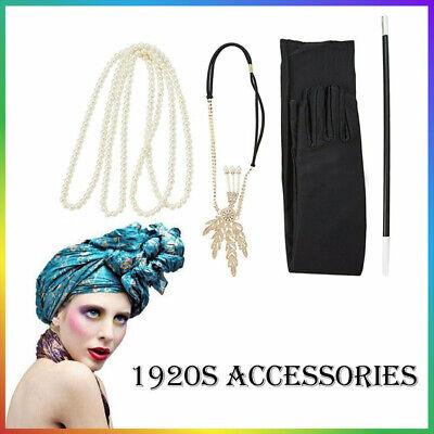 1920s Kostüm Damen Flapper Accessoires Set 20er Jahre Halloween Kostümzubehör (Flapper Kostüm Accessoires)