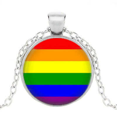 Gay Pride Necklace Same Sex LGBT Silver Jewelry With Rainbow Love Wins New #105 - Gay Pride Necklace