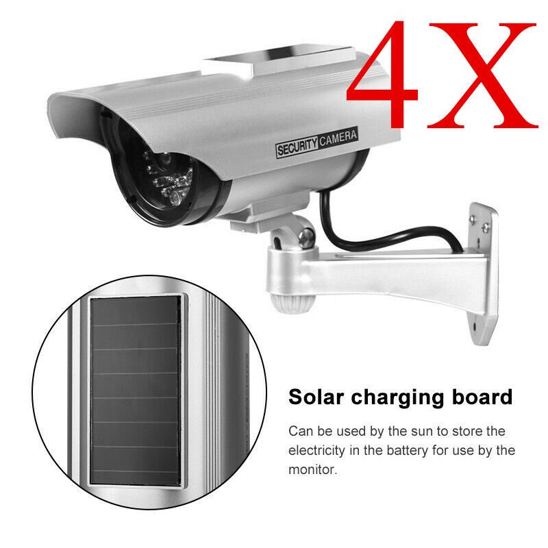 4x Solar Power LED CCTV Camera Fake Security Outdoor Dummy  Anti-Burglar