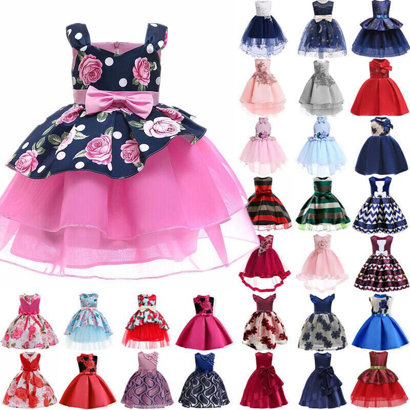 Kids Baby Flower Girls Princess Tulle Tutu Dress Party Weddi