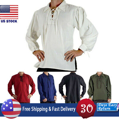 Mens Medieval Renaissance Pure Peasant Pirate Shirt Lace Up Tops Cosplay Costume - Mens Pirate Shirts