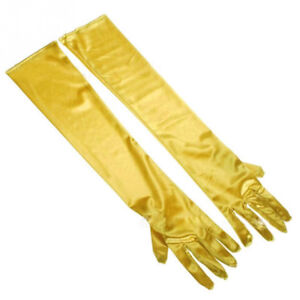 Brand new women long Gold yellow color satin elbow gloves