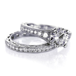 Tacori Channel Set & Pave Diamond Engagement Ring and Band