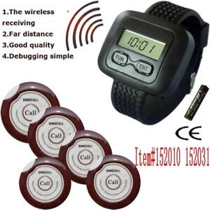 Mobile Wireless Calling System Wrist Watch Receiver and 5 Pagers 152010