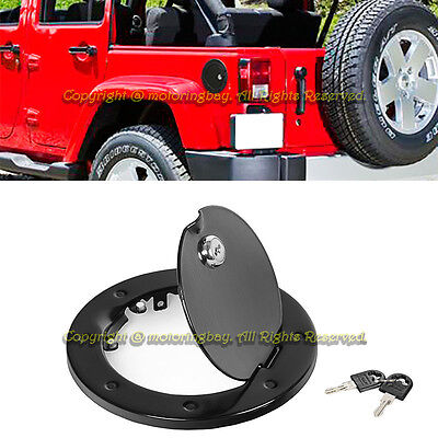 For 07-15 Jeep JK Wrangler Brushed Black Fuel Gas Tank Cap Cover Lock + Key