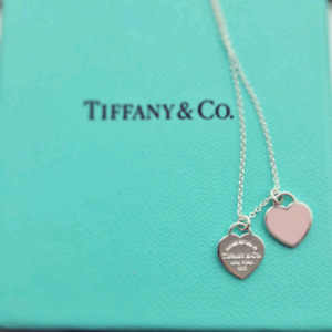 """Tiffanys 16"""" mini double heart necklace. Pink and silver hearts."""