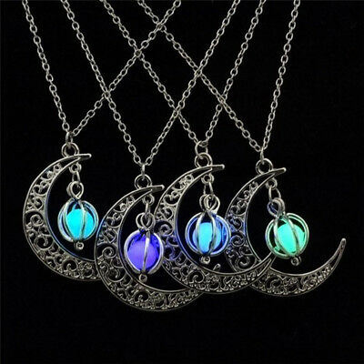 Glow In The Dark Luminous Necklace Moon&Pumpkin Pendant Silver Plated - Glow In The Dark Pumpkins