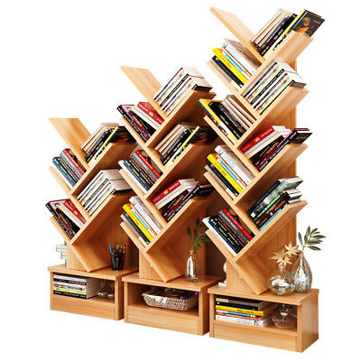 Bookcase Shelf Stand Display Cases Bookshelf Shelving Wood Shelves Tree Shape ()