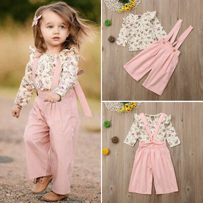US 2PCS Toddler Kids Baby Girl Winter Clothes Floral Tops+Pants Overall - Kids Outfits