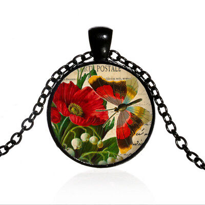 Red Flower Photo - Vintage Butterfly Red Flower Black Dome glass Photo Art Chain Pendant Necklace