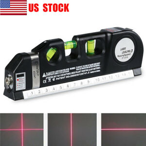 Multipurpose Laser Level Vertical Horizon Measuring Tape 8FT Aligner Ruler USA