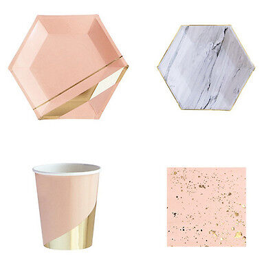 Gold Blocking Pink Marble Texture Party Supplies Paper Drinking Cup Dinner Plate