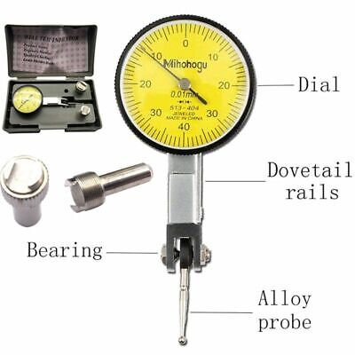 Dial Gauge Test Indicator Precision Metric With Dovetail Rails Mount 0-40-0 0.01